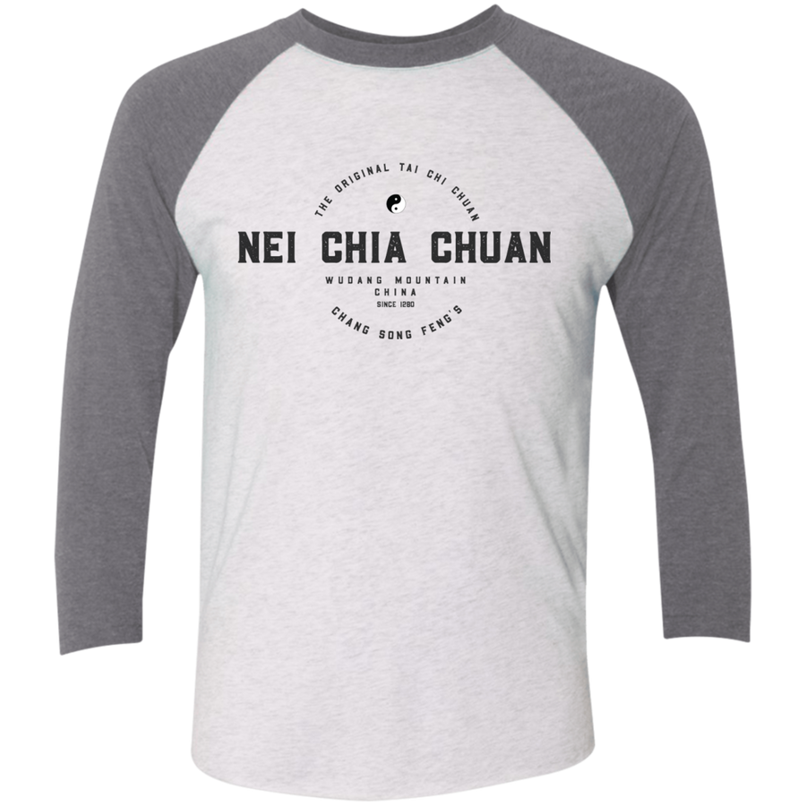 Heather White/Premium Heather Vintage Nei Chia Tri-Blend 3/4 Sleeve Baseball Raglan T-Shirt