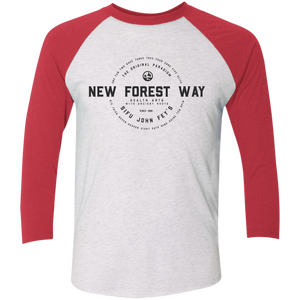 Heather White/Vintage Red Vintage New Forest Way Tri-Blend 3/4 Sleeve Baseball Raglan T-Shirt