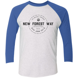 Heather White/Vintage Royal Vintage New Forest Way Tri-Blend 3/4 Sleeve Baseball Raglan T-Shirt
