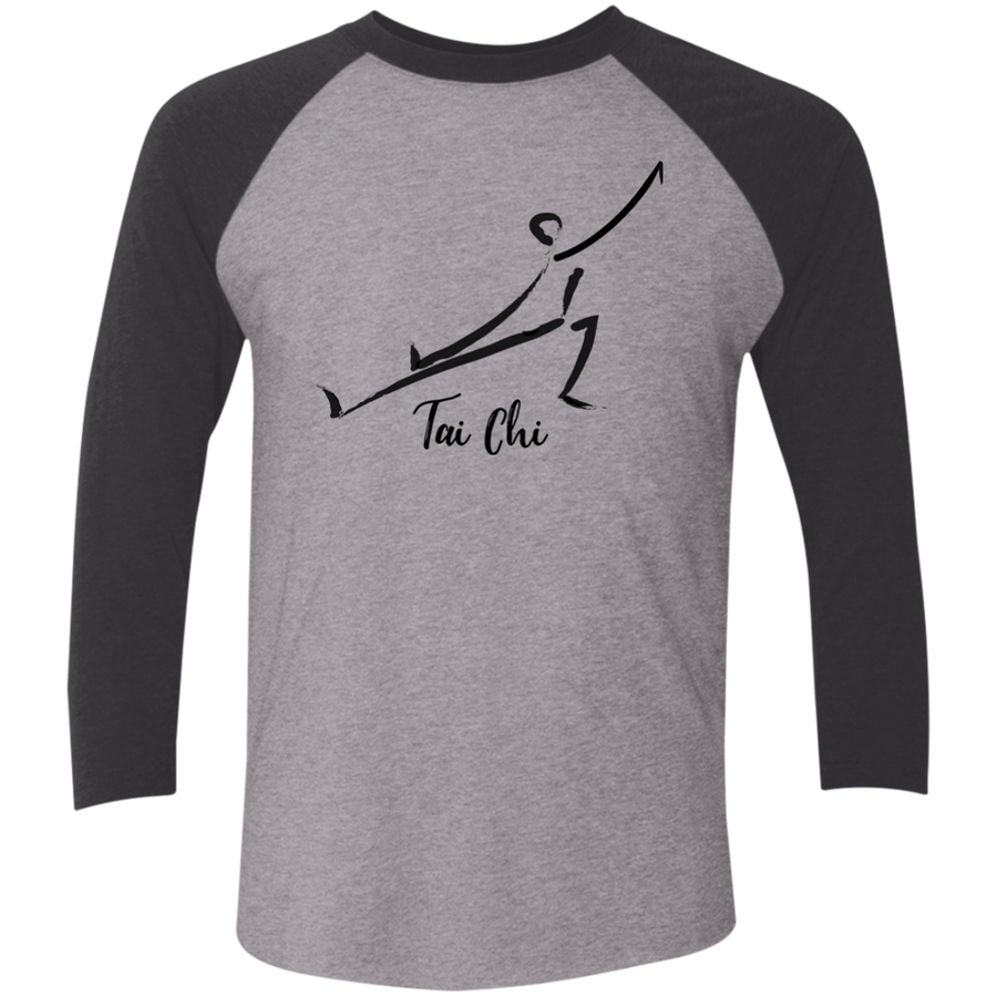 Premium Heather/Vintage Black Tai Chi Tri-Blend 3/4 Sleeve Baseball Raglan T-Shirt