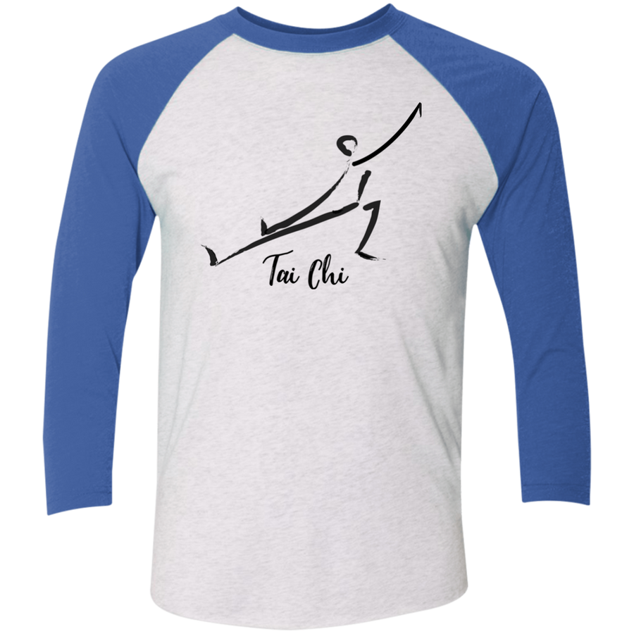 Heather White/Vintage Royal Tai Chi Tri-Blend 3/4 Sleeve Baseball Raglan T-Shirt