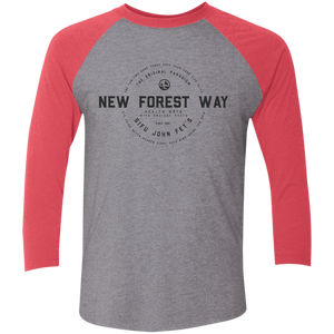 Premium Heather/Vintage Red Vintage New Forest Way Tri-Blend 3/4 Sleeve Baseball Raglan T-Shirt