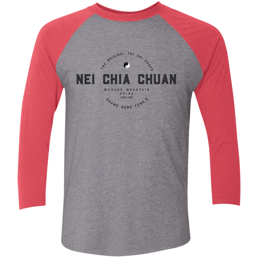 Premium Heather/Vintage Red Vintage Nei Chia Tri-Blend 3/4 Sleeve Baseball Raglan T-Shirt