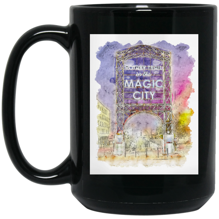 Magic City Watercolor Black Mug - Spgetti