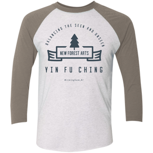 Heather White/Vintage Grey Vintage Yin Fu Ching Tri-Blend 3/4 Sleeve Baseball Raglan T-Shirt