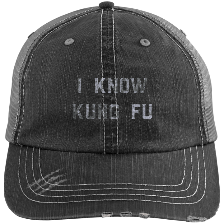 I Know Kung Fu Distressed Trucker Cap - Spgetti