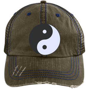 Brown/Navy Yin Yang Distressed Cap