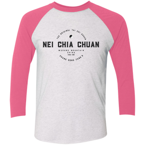 Heather White/Vintage Pink Vintage Nei Chia Tri-Blend 3/4 Sleeve Baseball Raglan T-Shirt