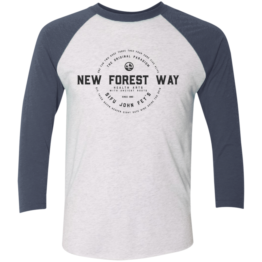 Heather White/Indigo Vintage New Forest Way Tri-Blend 3/4 Sleeve Baseball Raglan T-Shirt