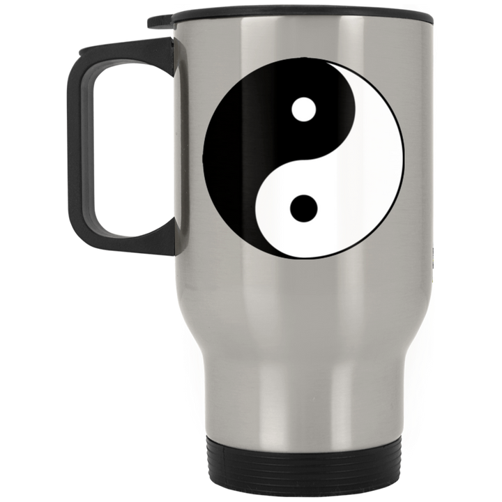 Yin Yang Single Silver Stainless Travel Mug