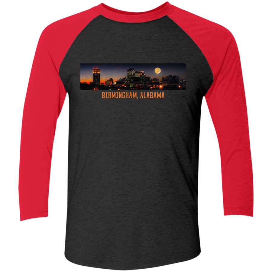 Birmingham and Moon Tri-Blend 3/4 Sleeve Baseball Raglan T-Shirt - Spgetti