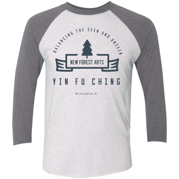 Heather White/Premium Heather Vintage Yin Fu Ching Tri-Blend 3/4 Sleeve Baseball Raglan T-Shirt