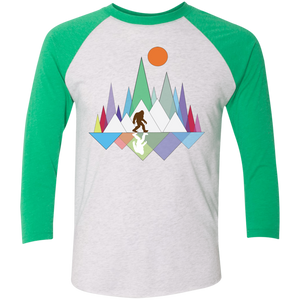Sasquatch Mountain Tri-Blend 3/4 Sleeve Baseball Raglan T-Shirt - Spgetti