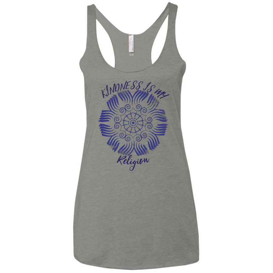 Kindness is My Religion Ladies' Triblend Racerback Tank - Spgetti