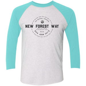 Heather White/Tahiti Blue Vintage New Forest Way Tri-Blend 3/4 Sleeve Baseball Raglan T-Shirt