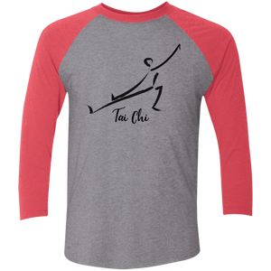 Premium Heather/Vintage Red Tai Chi Tri-Blend 3/4 Sleeve Baseball Raglan T-Shirt