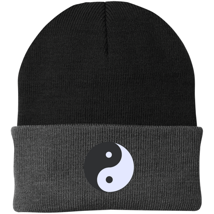 Two Tone Black/Grey Yin Yang Knit Hat