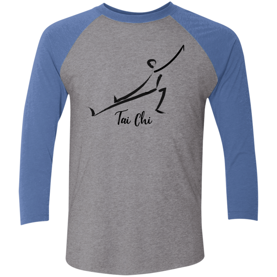 Premium Heather/Vintage Royal Tai Chi Tri-Blend 3/4 Sleeve Baseball Raglan T-Shirt