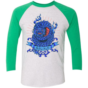 Blue Dragon Kung Fu Tri-Blend 3/4 Sleeve Baseball Raglan T-Shirt - Spgetti