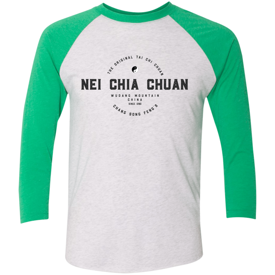 Heather White/Envy Vintage Nei Chia Tri-Blend 3/4 Sleeve Baseball Raglan T-Shirt