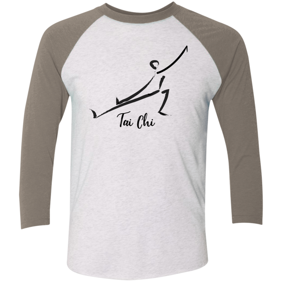 Heather White/Vintage Grey Tai Chi Tri-Blend 3/4 Sleeve Baseball Raglan T-Shirt