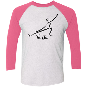 Heather White/Vintage Pink Tai Chi Tri-Blend 3/4 Sleeve Baseball Raglan T-Shirt