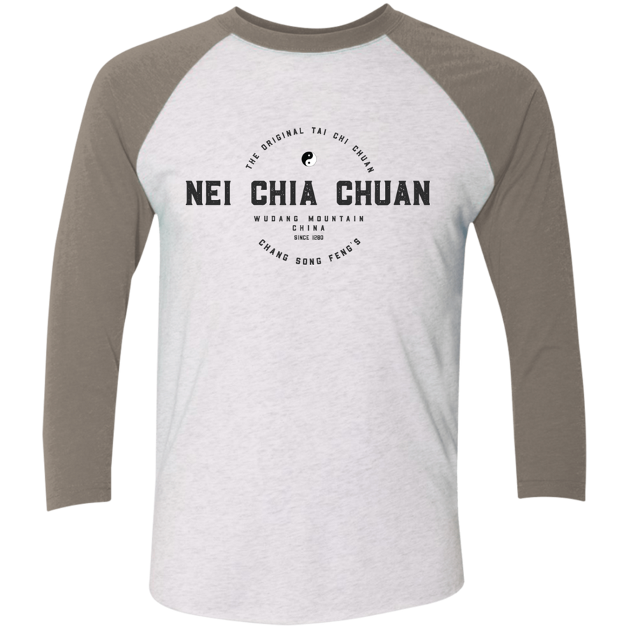 Heather White/Vintage Grey Vintage Nei Chia Tri-Blend 3/4 Sleeve Baseball Raglan T-Shirt