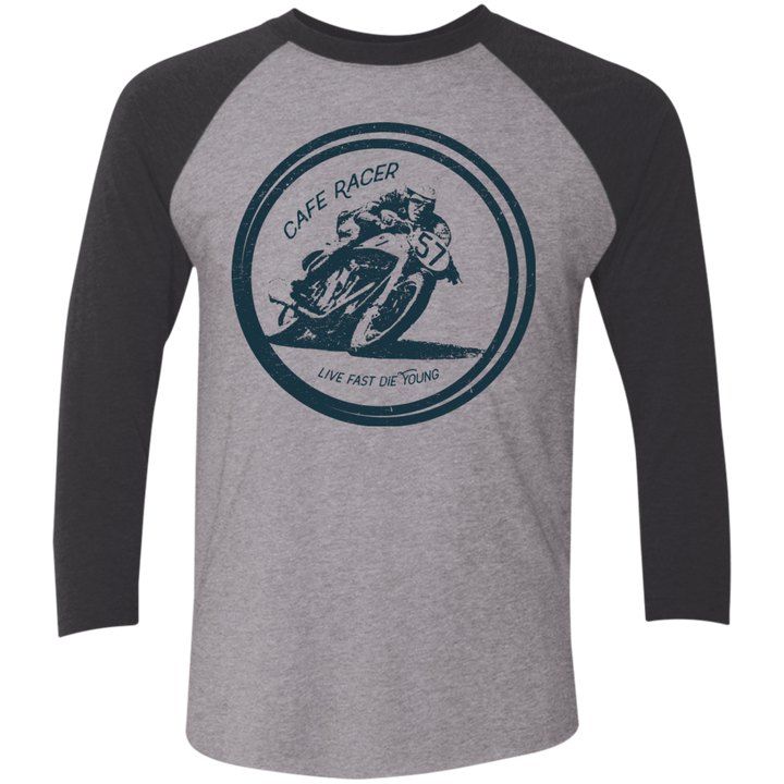 Cafe Racer Tri-Blend 3/4 Sleeve Baseball Raglan T-Shirt - Spgetti