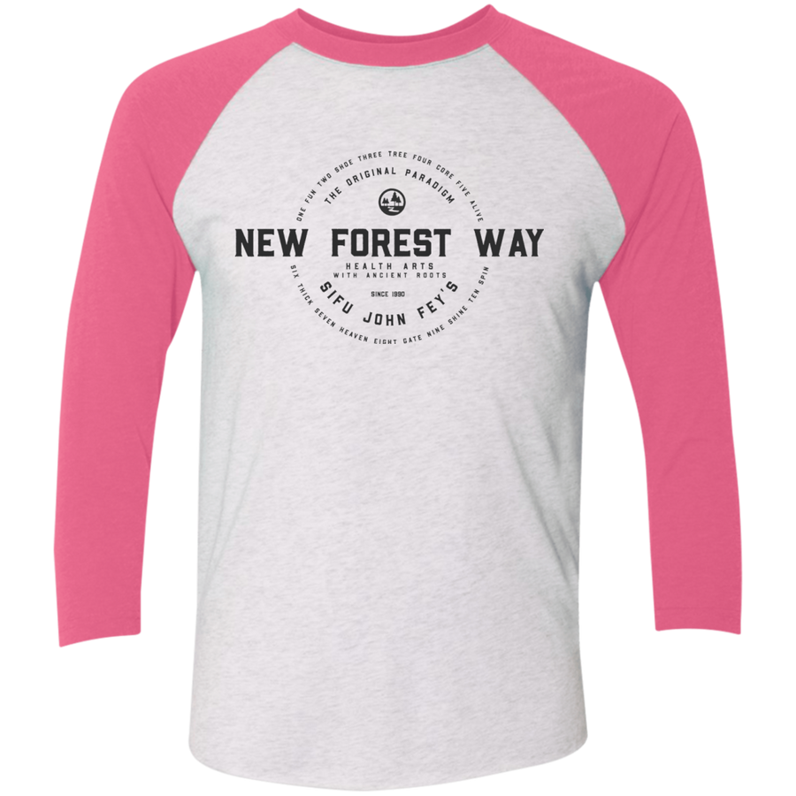 Heather White/Vintage Pink Vintage New Forest Way Tri-Blend 3/4 Sleeve Baseball Raglan T-Shirt