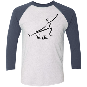 Heather White/Indigo Tai Chi Tri-Blend 3/4 Sleeve Baseball Raglan T-Shirt