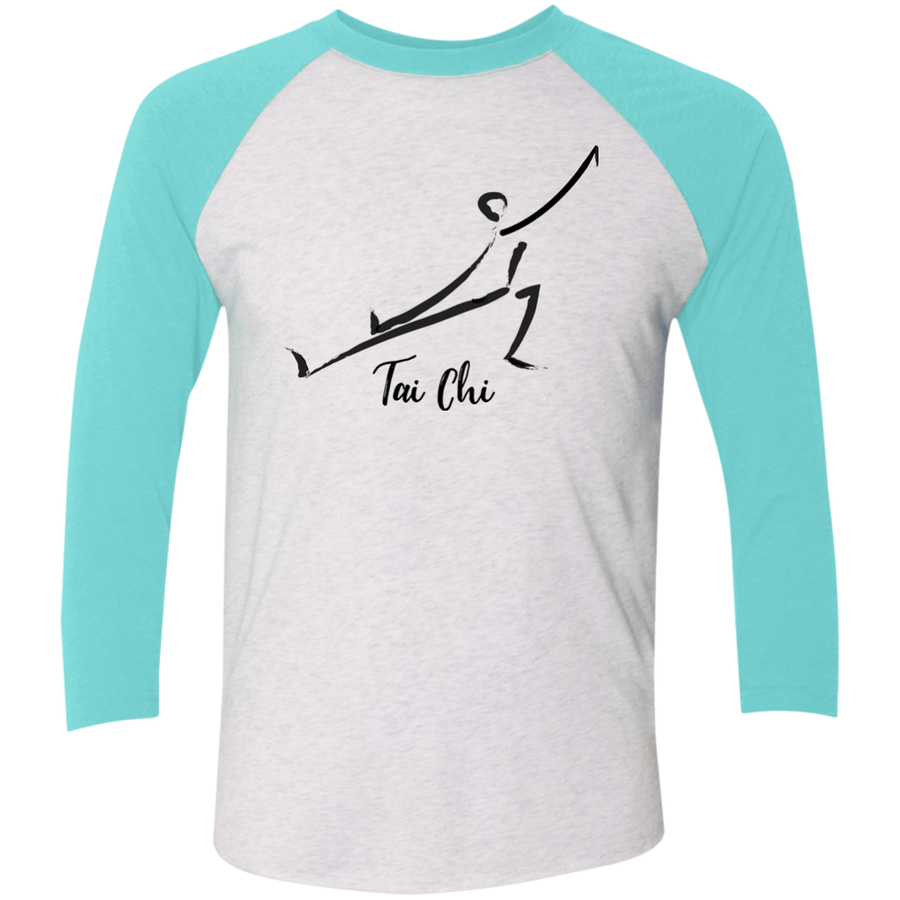 Heather White/Tahiti Blue Tai Chi Tri-Blend 3/4 Sleeve Baseball Raglan T-Shirt