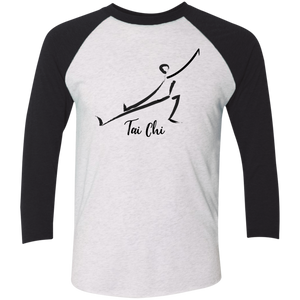 Heather White/Vintage Black Tai Chi Tri-Blend 3/4 Sleeve Baseball Raglan T-Shirt