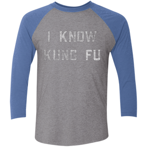 I Know Kung Fu Tri-Blend 3/4 Sleeve Baseball Raglan T-Shirt - Spgetti