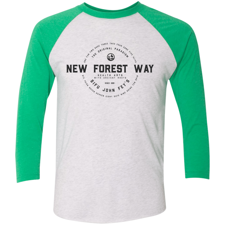 Heather White/Envy Vintage New Forest Way Tri-Blend 3/4 Sleeve Baseball Raglan T-Shirt