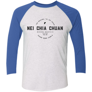 Heather White/Vintage Royal Vintage Nei Chia Tri-Blend 3/4 Sleeve Baseball Raglan T-Shirt