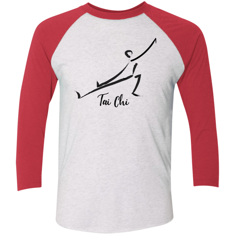 Heather White/Vintage Red Tai Chi Tri-Blend 3/4 Sleeve Baseball Raglan T-Shirt