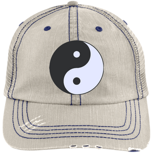 Putty/Navy Yin Yang Distressed Cap