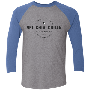 Premium Heather/Vintage Royal Vintage Nei Chia Tri-Blend 3/4 Sleeve Baseball Raglan T-Shirt