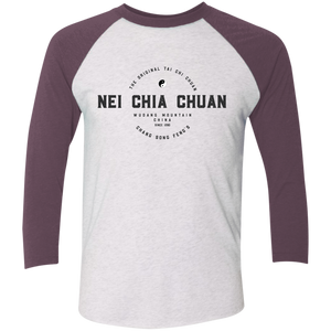 Heather White/Vintage Purple Vintage Nei Chia Tri-Blend 3/4 Sleeve Baseball Raglan T-Shirt