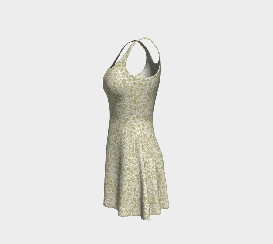 Multiple Flowers on White Flare Dress