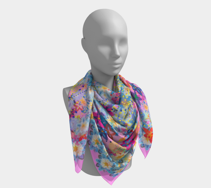 Beautiful Floral Pink Scarf - Spgetti