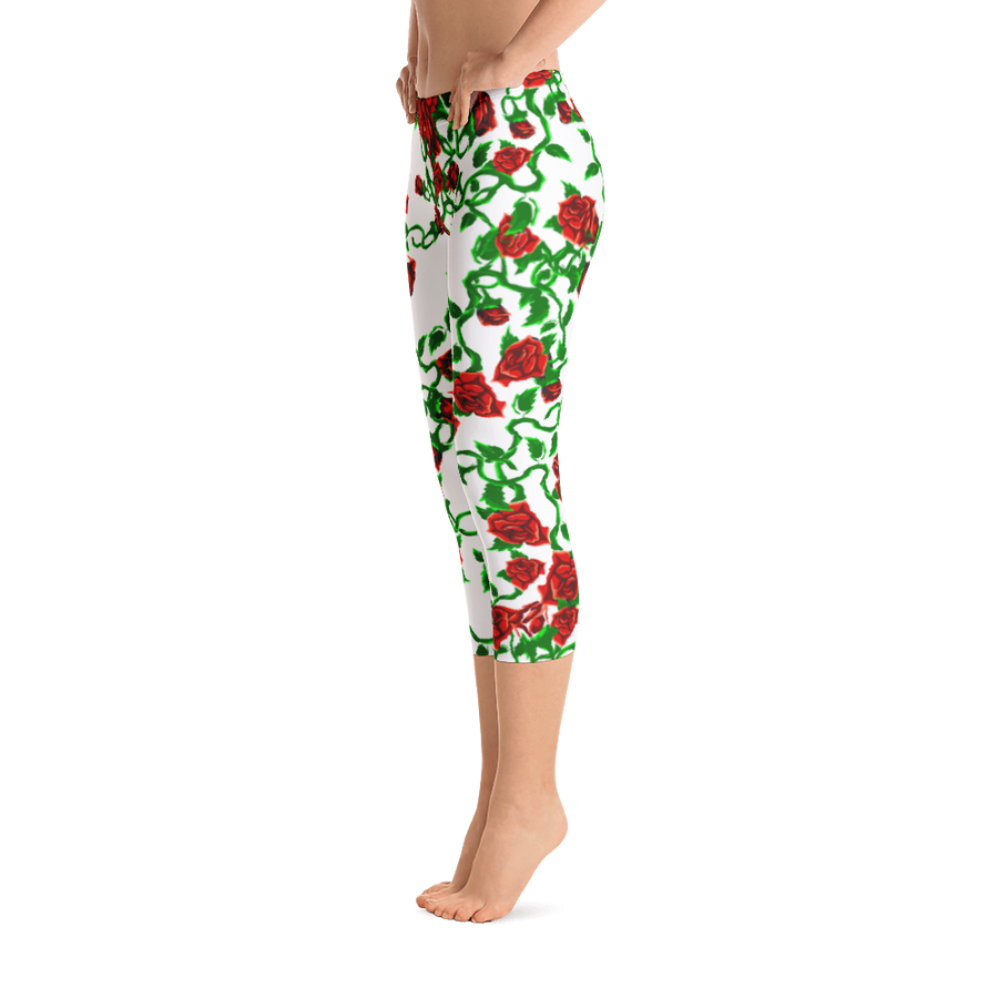 Roses on White Capri Leggings