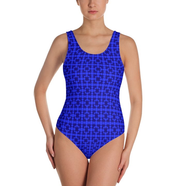 Blue Pattern One-Piece Swimsuit - Spgetti