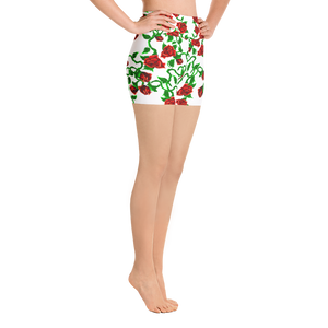 Roses on White Yoga Shorts
