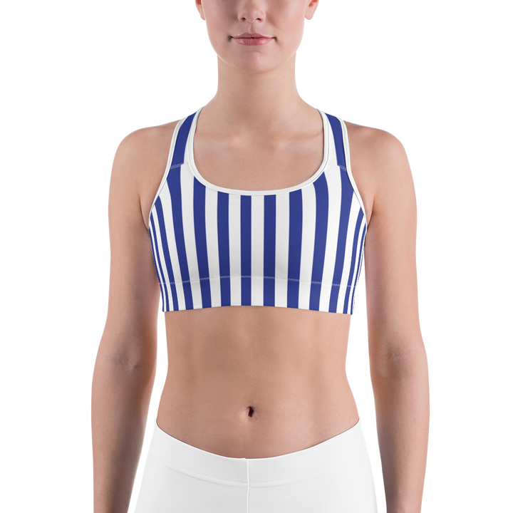 Blue Vertical Stripe Sports bra - Spgetti