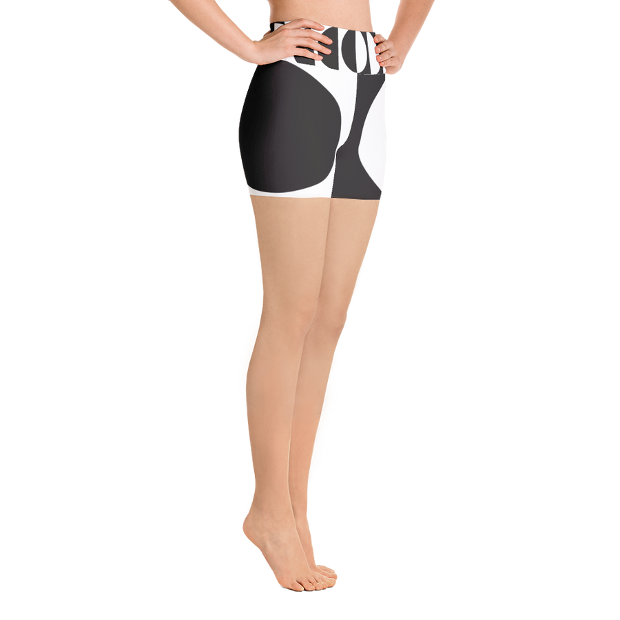 Black and White Circle Design Yoga Shorts - Spgetti