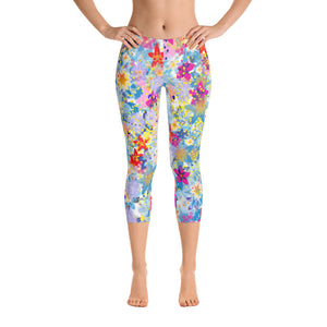 Beautiful Floral Capri Leggings - Spgetti