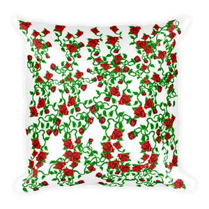 Black Zizgag and White Roses Square Pillow - Spgetti