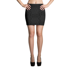 Recurved Circle Pattern Black Mini Skirt