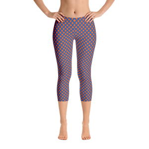 Orange Dots Blue Background Capri Leggings - Spgetti